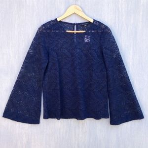 NWT Banana Republic lace bell sleeve top blue S